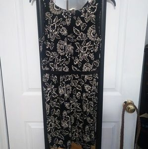 Loft Black with White Florals Dress